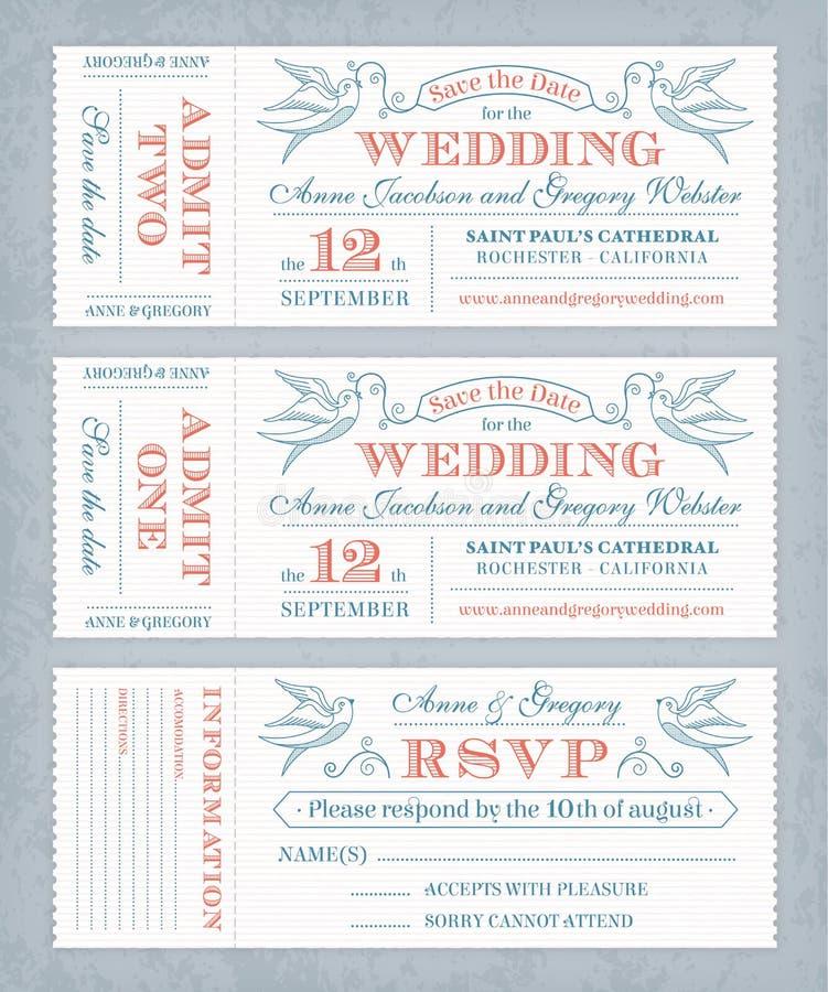 Vektorbröllop inviterar biljetter stock illustrationer