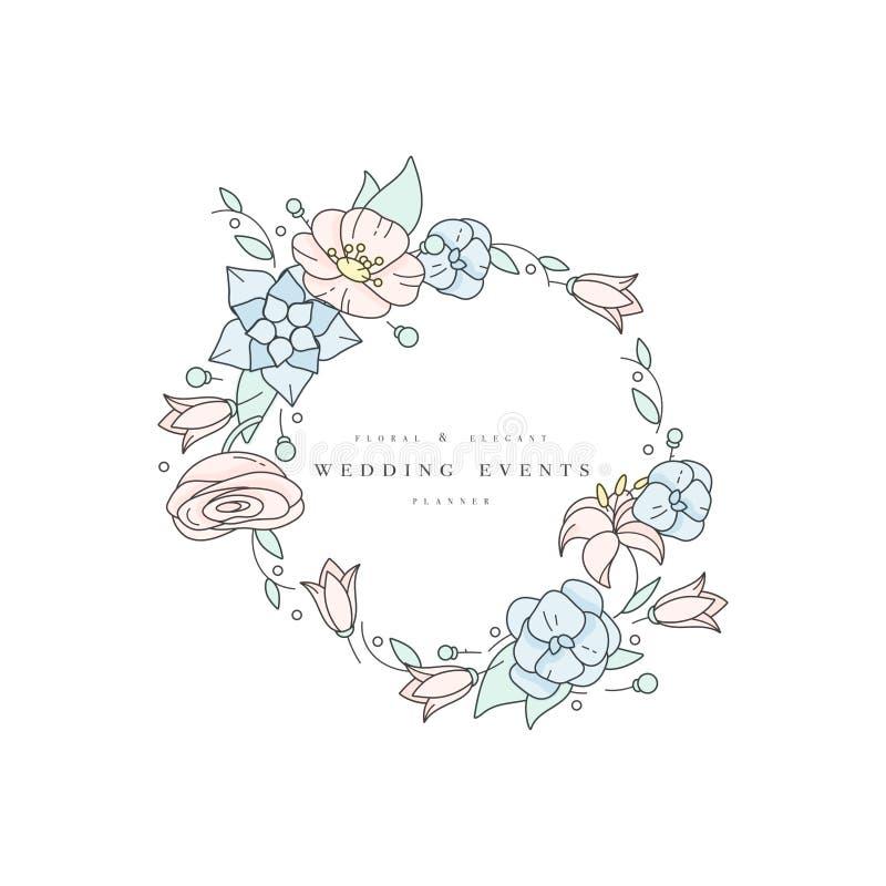 Vektorbröllopbakgrund eller inbjudankort Blom- Illustration-vanlig hortensia, ranunculus, anemon och lilja högvärdigt royaltyfri illustrationer