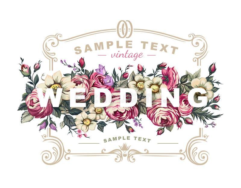 Vektorbröllopetikett med en ram som komponeras av detaljerade blommor vektor illustrationer