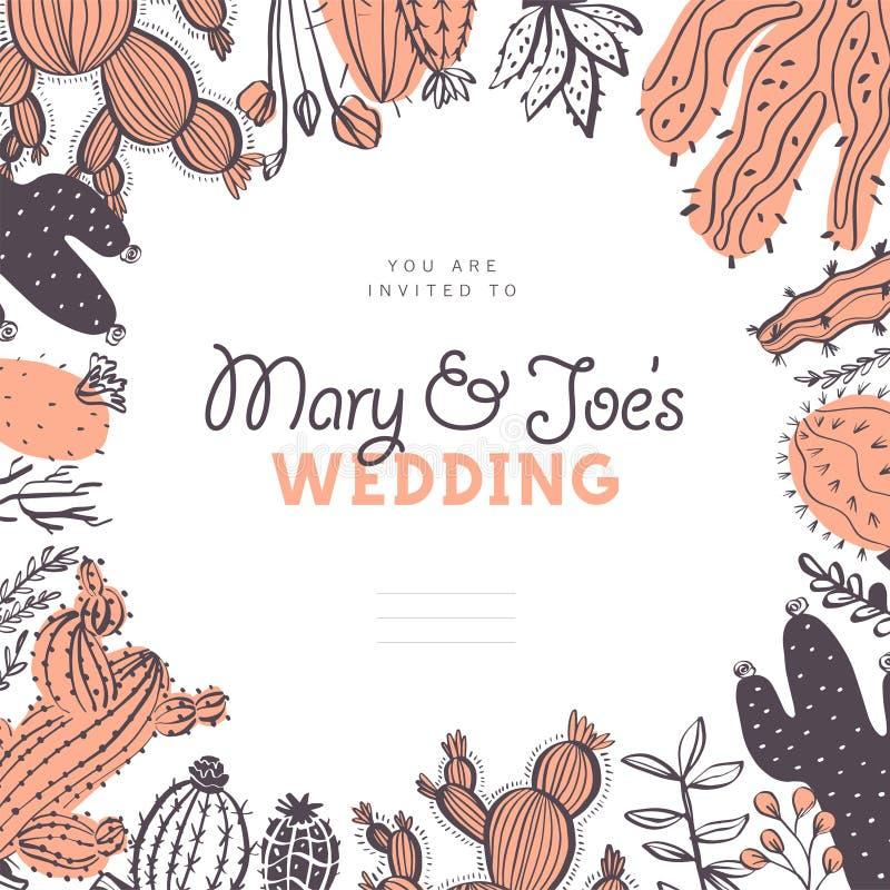 Vektorbröllopinbjudan, kort, etikettsdesignmall - textställe, ram med kaktuns, filialer, blom- beståndsdelordningsisola stock illustrationer