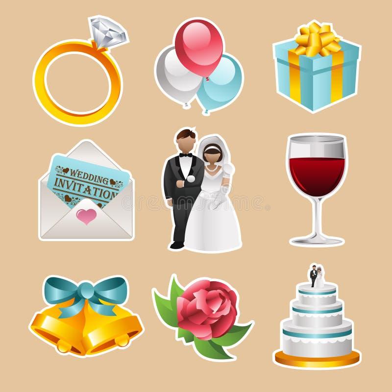 Vektorbröllopsymboler vektor illustrationer