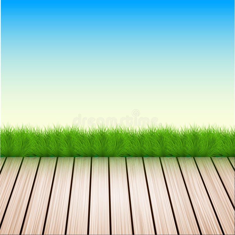 Vektorbretterboden mit Gras, Himmel stock abbildung