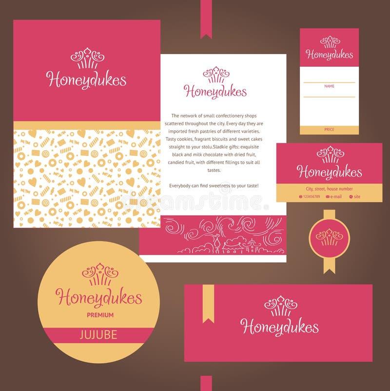 Vektorbriefpapier-Schablonendesign für Café, Bonbons, Konditor lizenzfreie abbildung