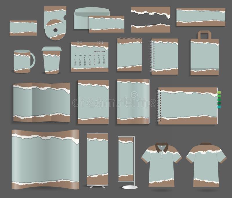 Vektorbriefpapier-Schablonendesign stellte mit heftigem Papier ein stock abbildung