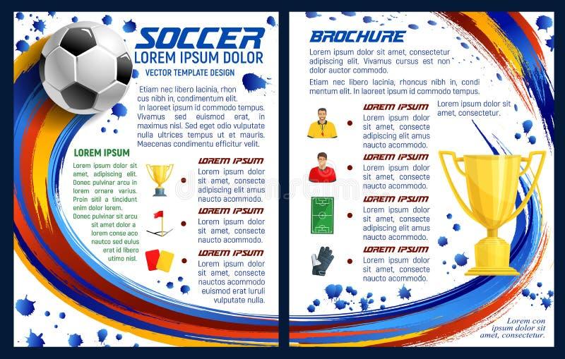 Vektorbroschyr för fotbollfotbollsmatch vektor illustrationer