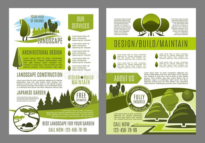 Vektorbroschyr för grön landskapecodesign royaltyfri illustrationer