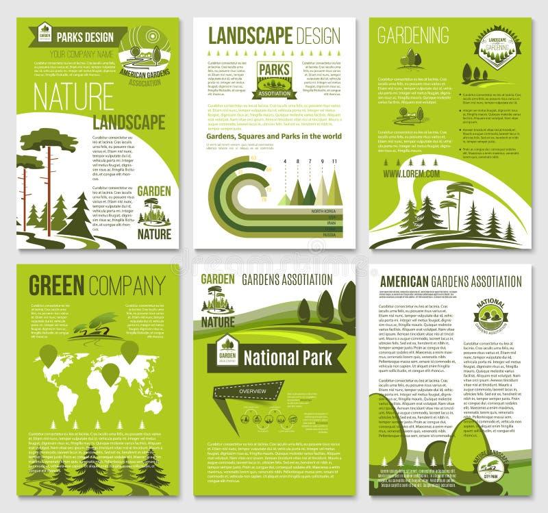 Vektorbroschyr för grönt naturecoföretag vektor illustrationer