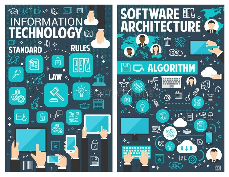 Vektorbroschyr för informationsteknik stock illustrationer