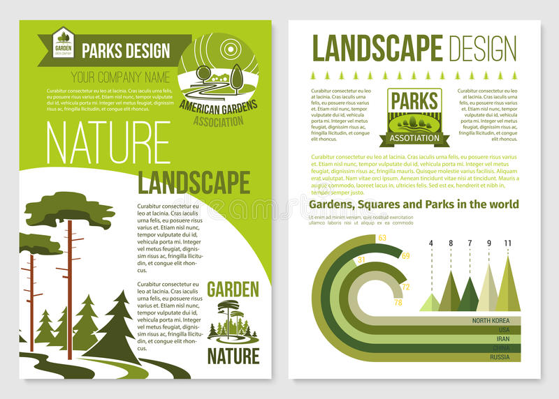 Vektorbroschyr för naturlandskapdesign royaltyfri illustrationer