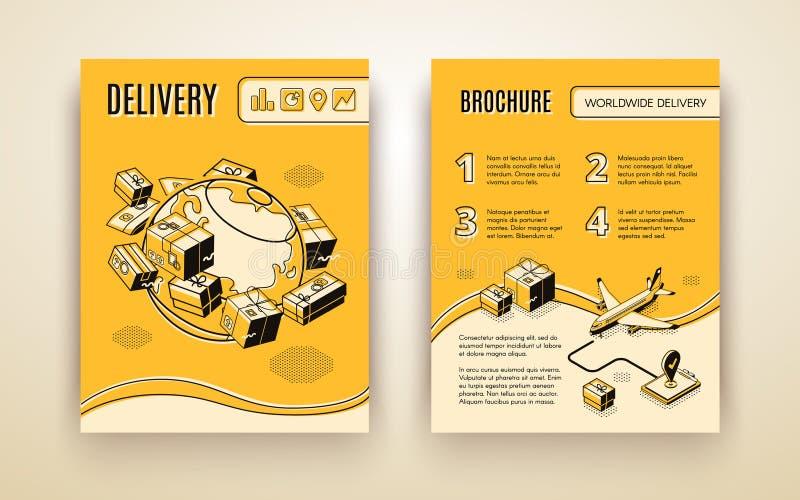 Vektorbroschyrmall för världsomspännande sändnings, leverans stock illustrationer