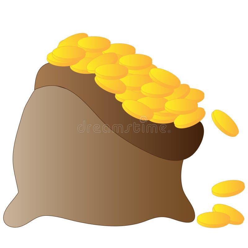 Vektorbruntpåse mycket av pengar royaltyfri illustrationer
