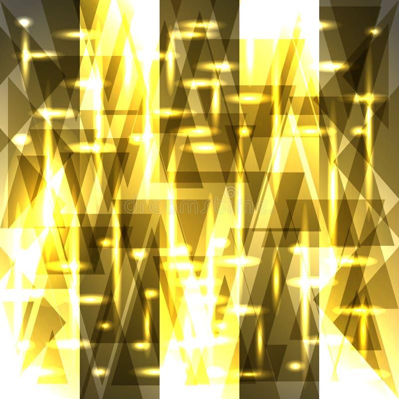 Vektorbrusandemodell av ljusa guld- fragment och trianglar stock illustrationer