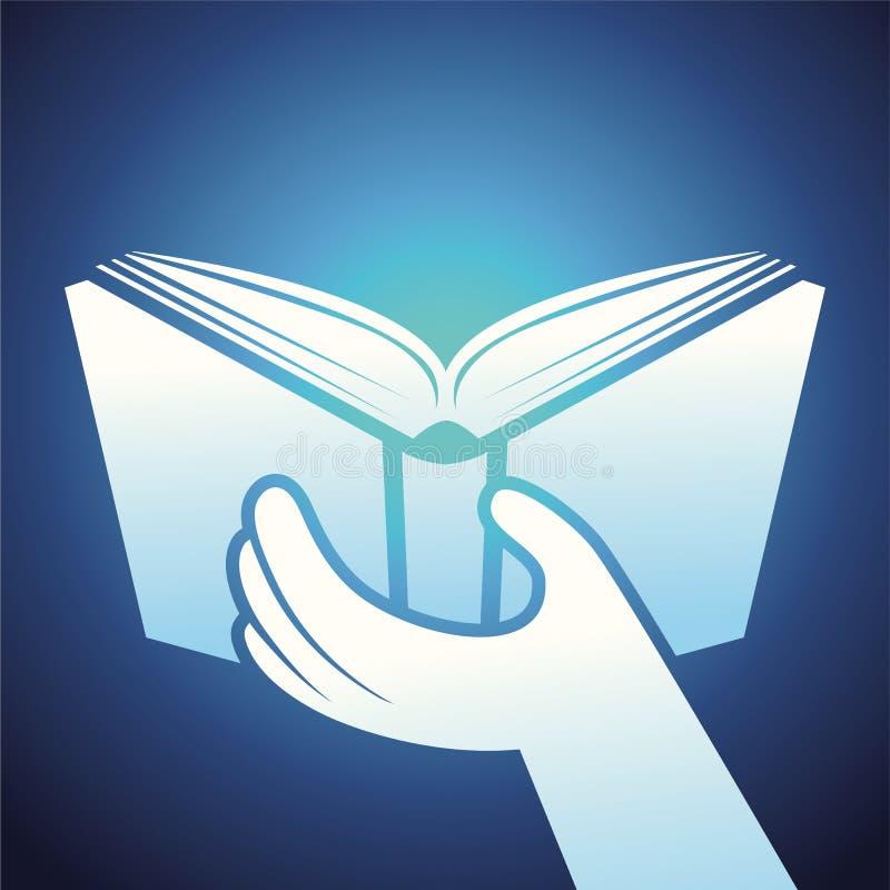 Vektorbuchikone - Hände, die Lehrbuch halten stock abbildung