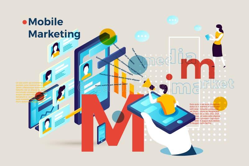 Vektorbuchstabe M mit dem beweglichen Marketing infographic stock abbildung