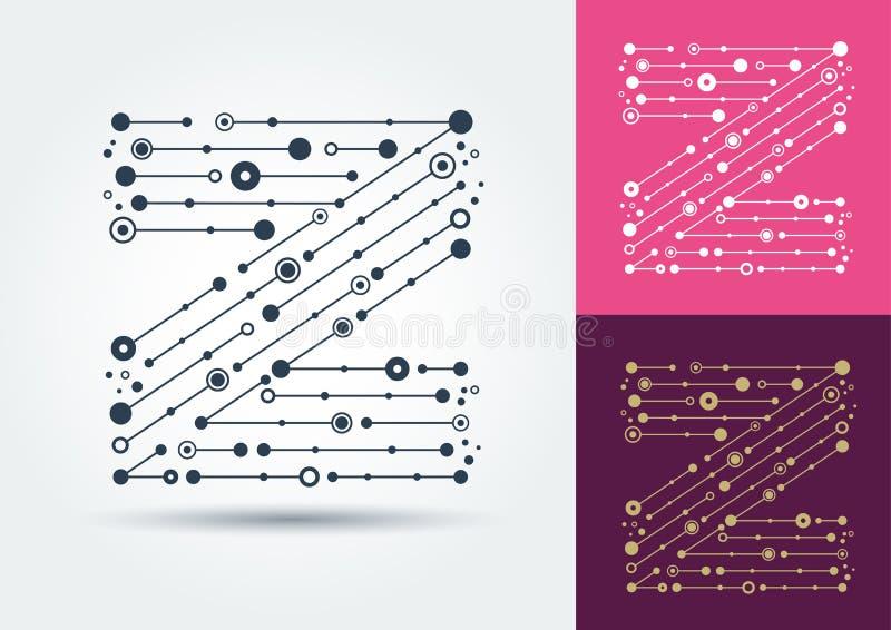 Vektorbuchstabe Z Lokalisierter und editable Charakter im Stil lizenzfreie abbildung