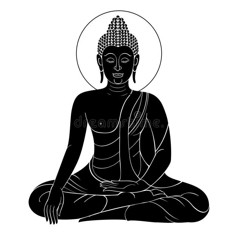 Vektorbuddha-Weinlesestich mit Retro- Verzierung lizenzfreies stockfoto