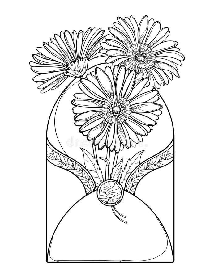 Vektorbukett av översiktsgerberaen eller Gerber blomma och blad i det öppna hantverkkuvertet i svart som isoleras på vit bakgrund royaltyfri illustrationer