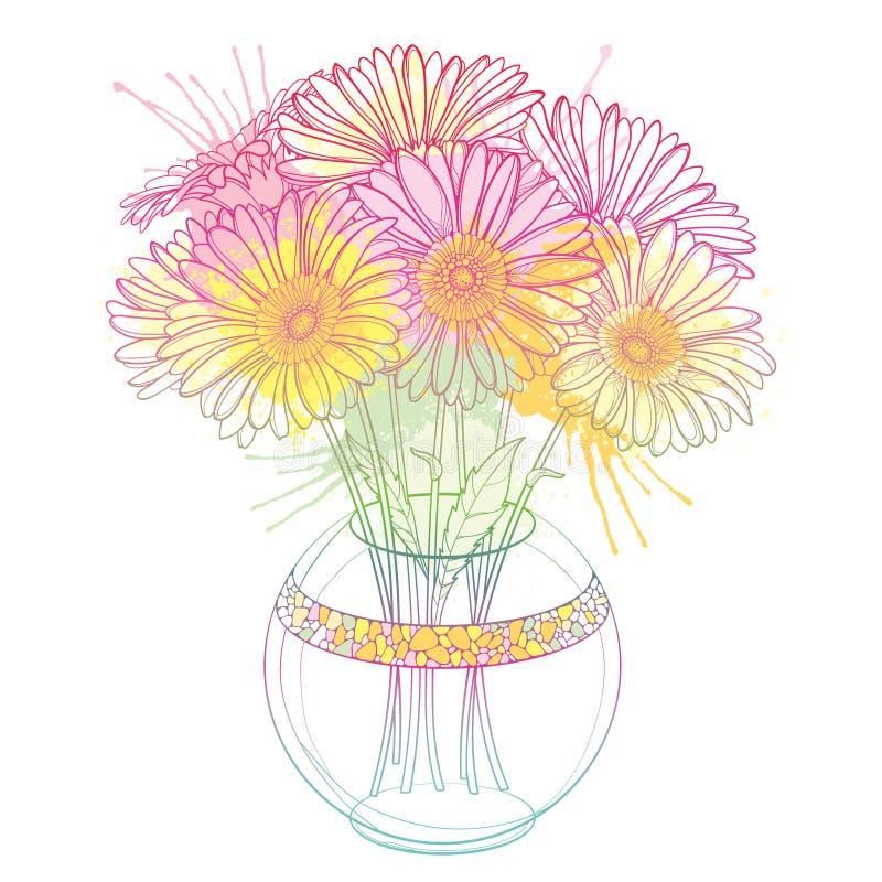 Vektorbukett av den översiktsgerbera- eller Gerber blomman i rund vas i pastellfärgat rosa och apelsinen som isoleras på vit bakg royaltyfri illustrationer