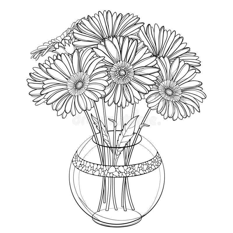 Vektorbukett av den översiktsgerbera- eller Gerber blomman i den runda vasen i svart som isoleras på vit bakgrund Grupp av kontur stock illustrationer
