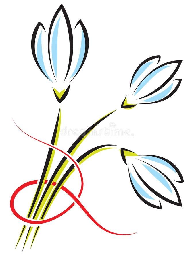 Vektorbukett av vårblommor Krokusar eller snödroppar med ett r vektor illustrationer