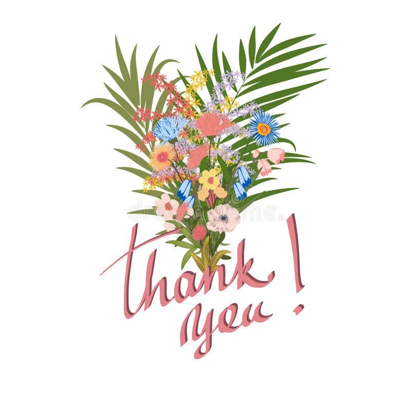 Vektorbukett med blommor och tropiska sidor, tacka dig att card vektor illustrationer