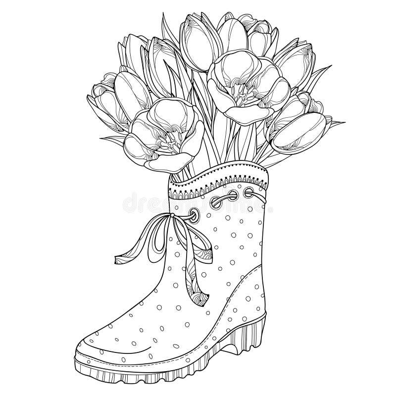 Vektorbuketten med översiktstulpan blommar i gummistöveln med pilbågen som isoleras på vit bakgrund blom- utsmyckat för element stock illustrationer
