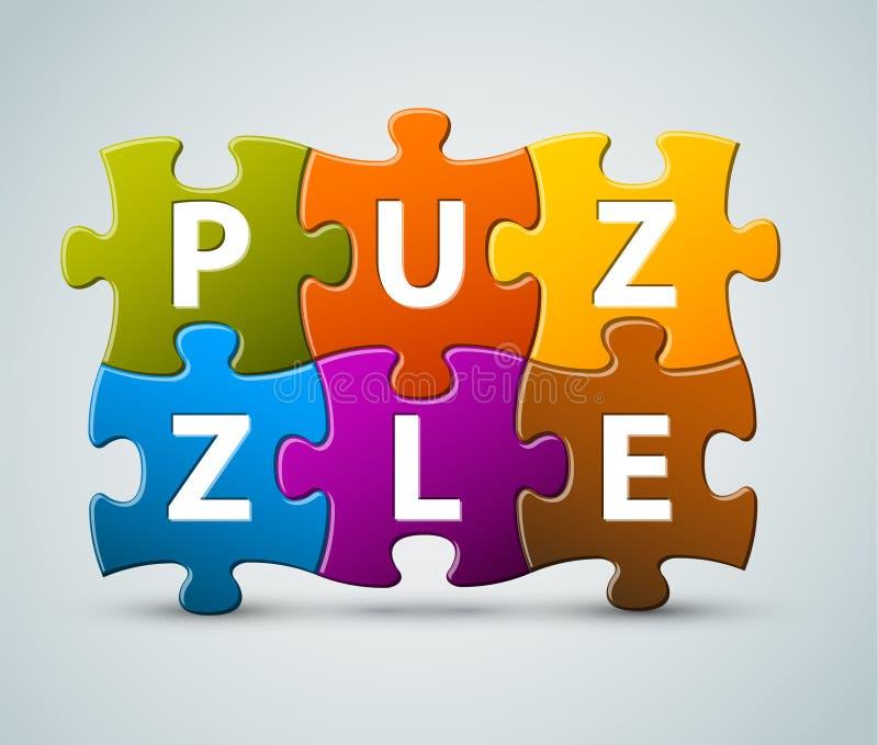 Vektorbunte Puzzlespielbeschriftung stock abbildung