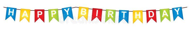 VektorBunting med text för lycklig födelsedag stock illustrationer