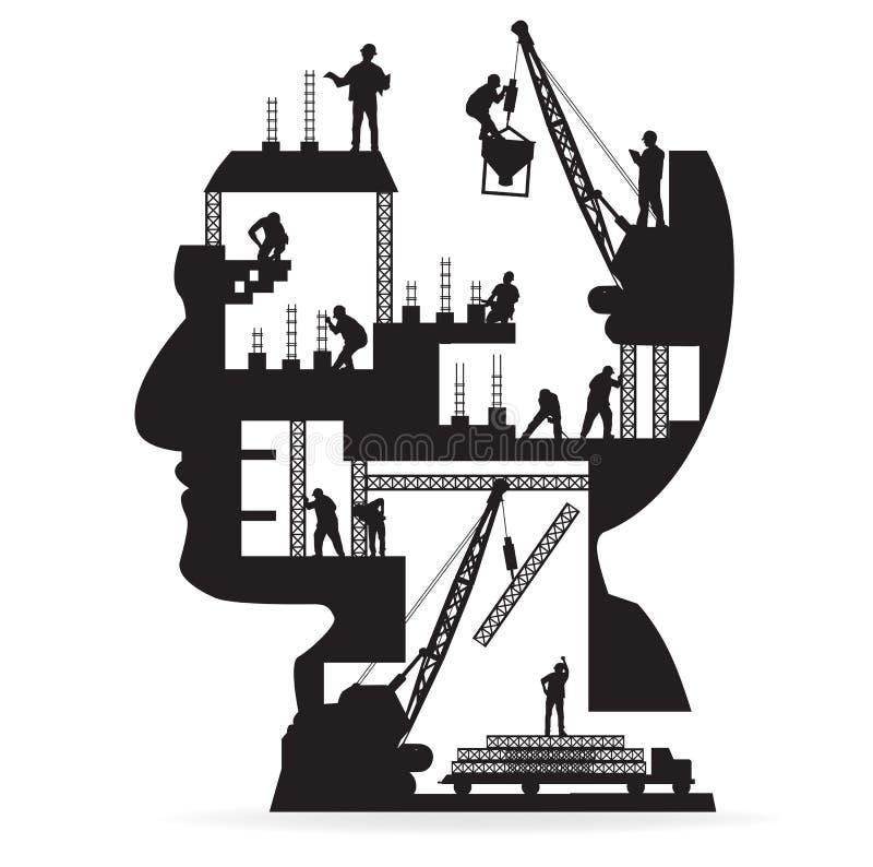 Vektorbyggnad under konstruktion med arbetare in royaltyfri illustrationer