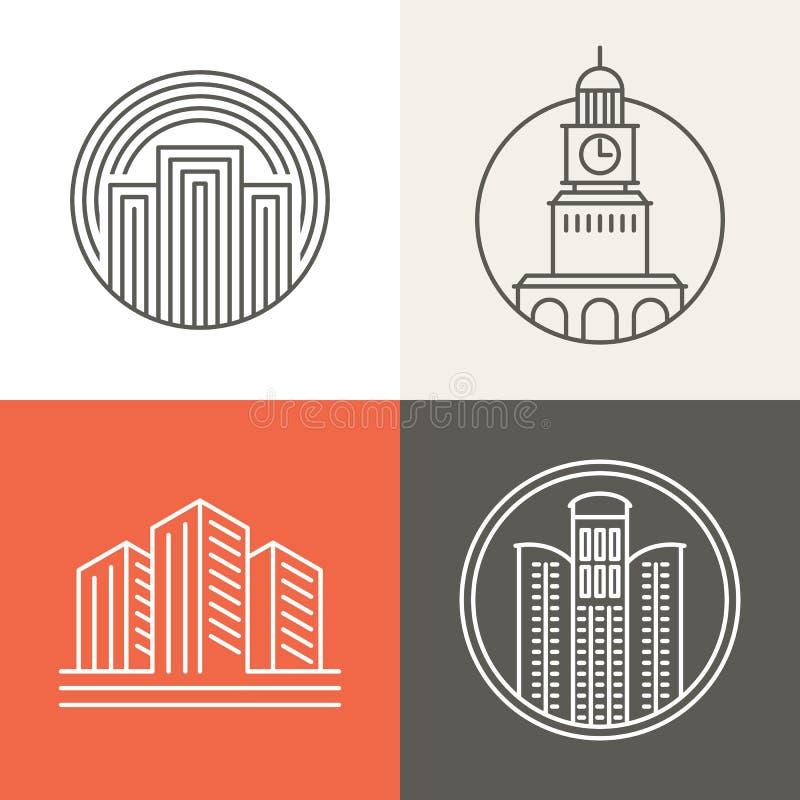 Vektorbyggnads- och huslogoer vektor illustrationer