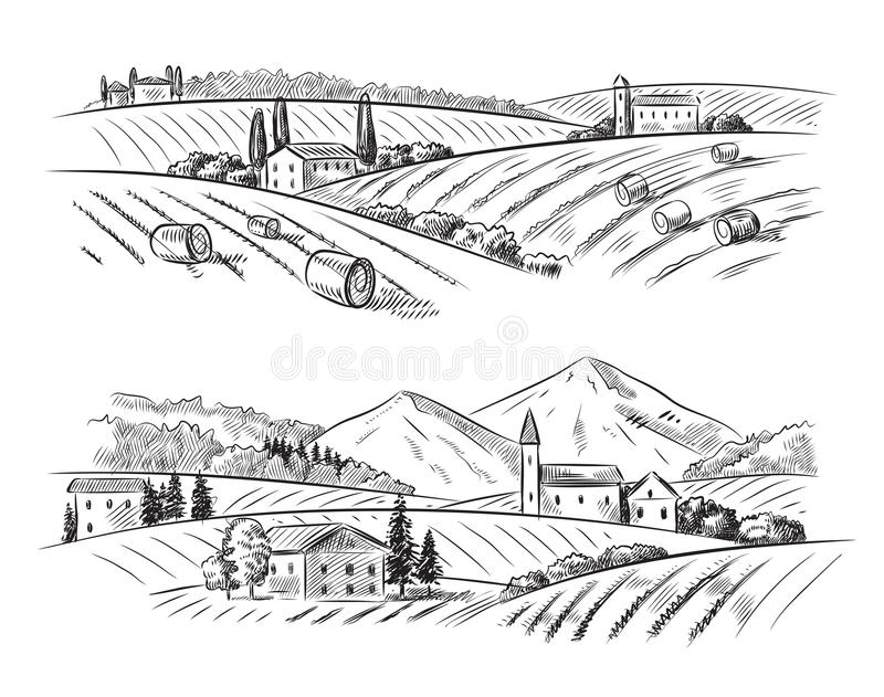 Vektorbyn skissar och naturen stock illustrationer