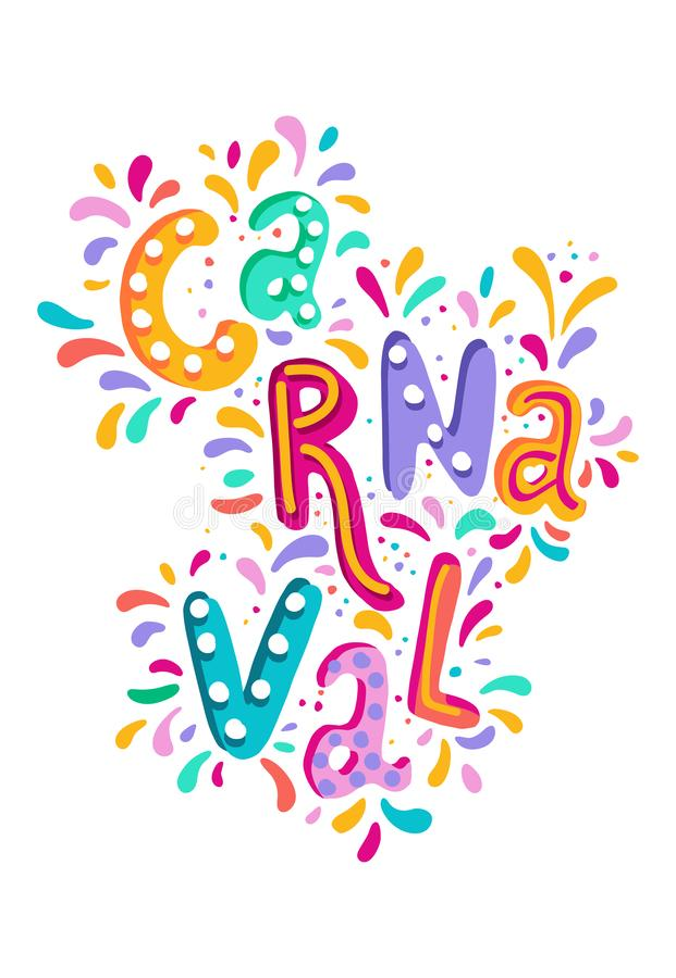 VektorCarnaval för hand utdragen bokstäver med exponeringar av fyrverkerit, färgrik konfetti Festlig titel, rubrikbaner royaltyfri illustrationer