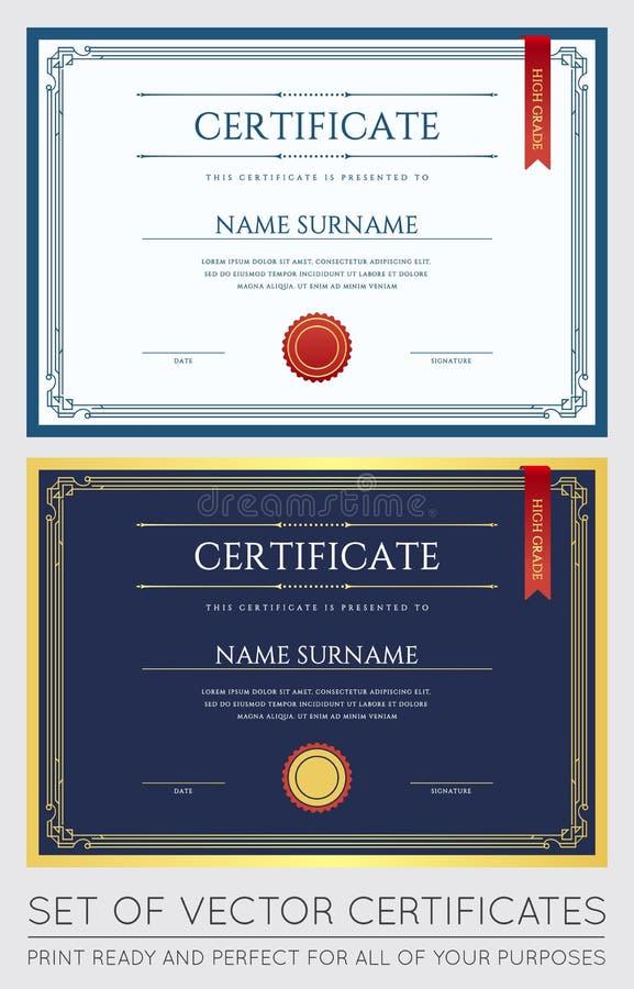 Vektorcertifikatet eller diplommallen som är klar för tryck eller, använder det stock illustrationer