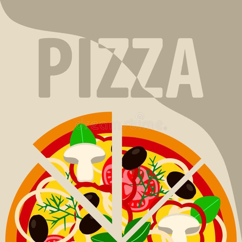 Vektorchampinjonpizza fastfood som annonserar affischen stock illustrationer