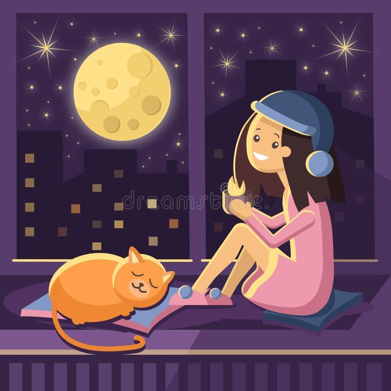 Vektorcharakter eines Mädchens, das auf einem Fenster mit einer roten Katze und einem trinkenden Kaffee betrachten die Nachtstadt lizenzfreie abbildung