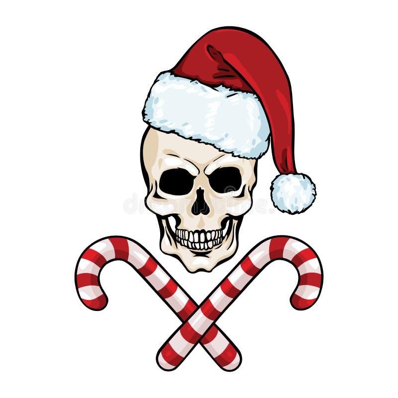 Vektorcharakter - Weihnachtsschädel und gekreuzte Zuckerstangen stock abbildung