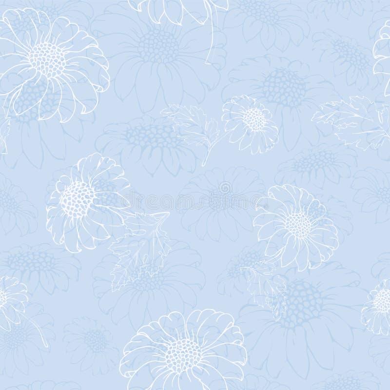 Vektorchrysantheme Nahtloses Muster von Goldengänseblümchenblumen Einfarbige Schablone für Blumendekoration, Gewebeentwurf, lizenzfreie abbildung