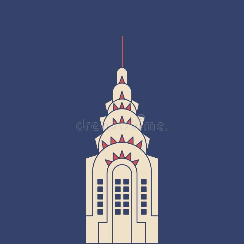 VektorChrysler byggnad i modern plan stil på ljus bakgrund Affisch med Chrysler byggnad royaltyfri illustrationer