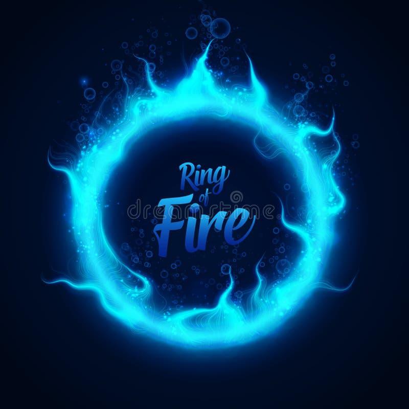 Vektorcirkel av undervattens- brand för feblått med bubblor Procedurmässig brandflammabrännskada runt om glödande cirkel burning  stock illustrationer