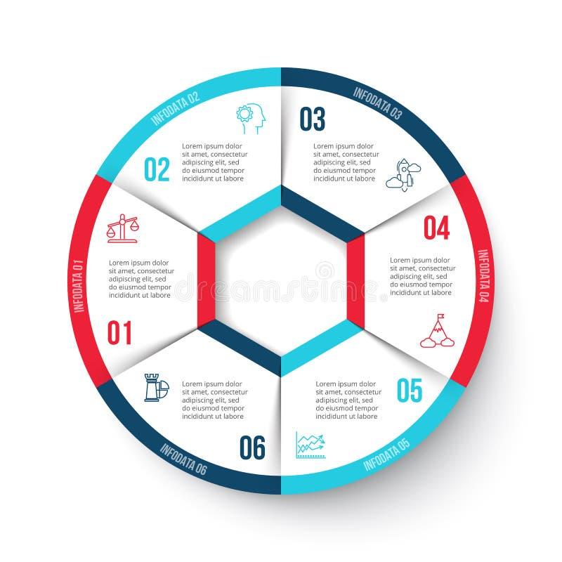 Vektorcirkel som är infographic med 6 alternativ royaltyfri illustrationer