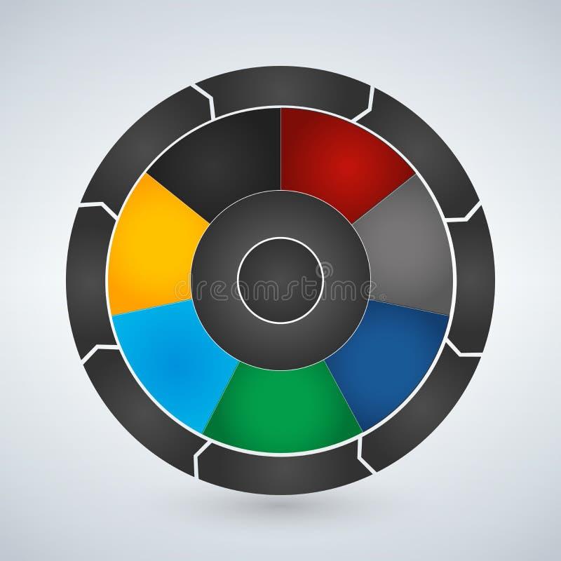 Vektorcirkelbeståndsdelar för infographic Mall för att cykla diagrammet, grafen, presentation och det runda diagrammet Affärsidé  royaltyfri illustrationer