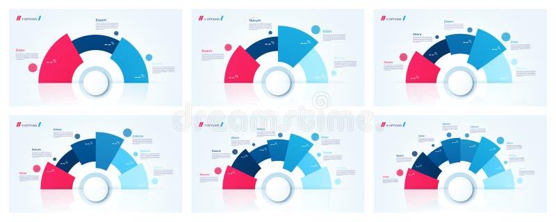 Vektorcirkeldiagrammet planlägger, mallar för att skapa infographics stock illustrationer