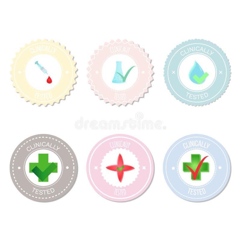 Vektorcirkeletiketter, klistermärkear, emblem för produkter, symboler vektor illustrationer