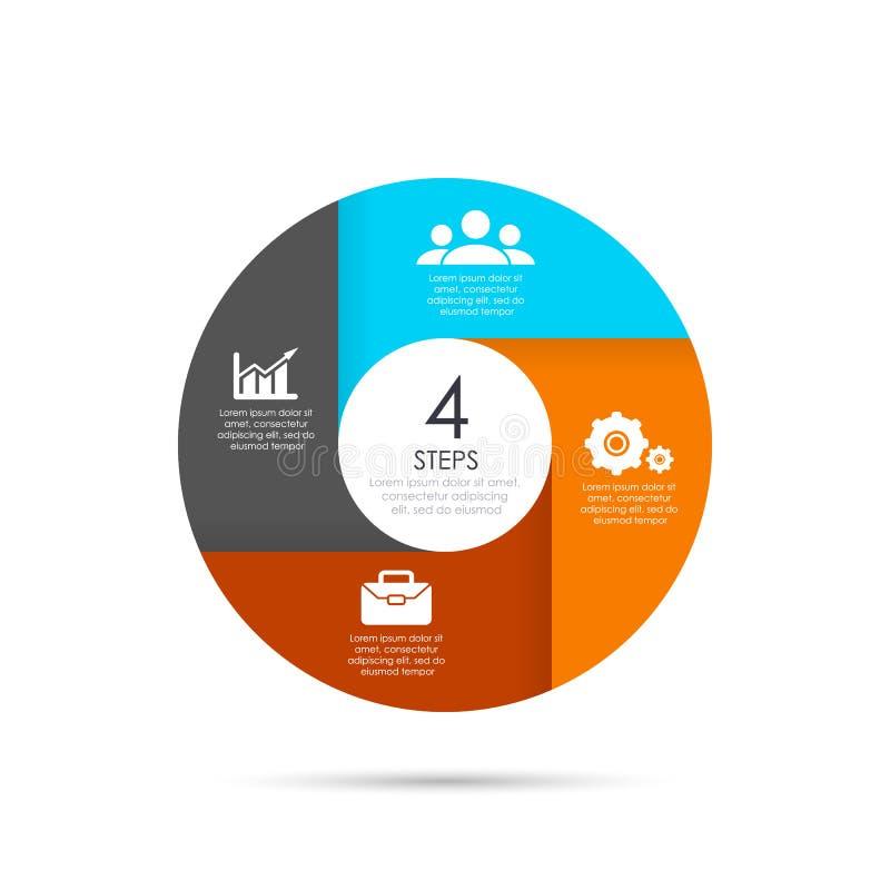 Vektorcirkelmall för infographics Affärsidé med 4 beståndsdelar, moment royaltyfri illustrationer