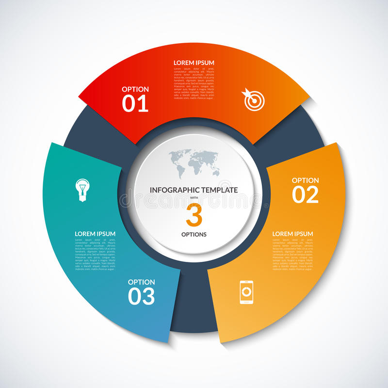 Vektorcirkelmall för infographics Affärsidéen med 3 alternativ, kliver, delar, segment royaltyfri illustrationer