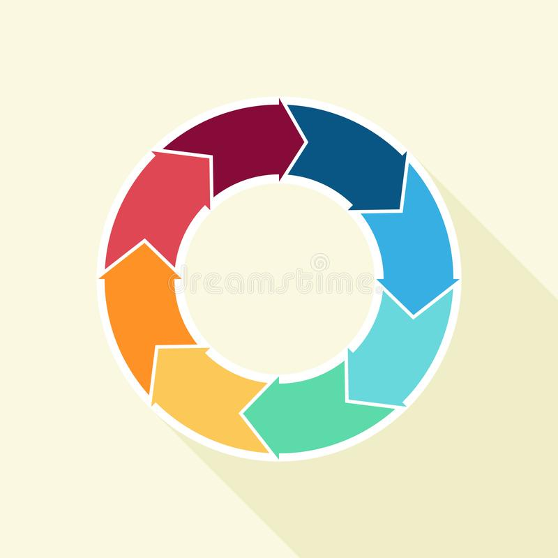 Vektorcirkelpilar för infographic Mall för att cykla diagrammet, grafen, presentation och det runda diagrammet stock illustrationer