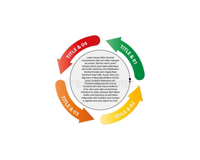 Vektorcirkelpilar för infographic Mall för diagram, graf, presentation och diagram Affärsidé med 4 alternativ stock illustrationer