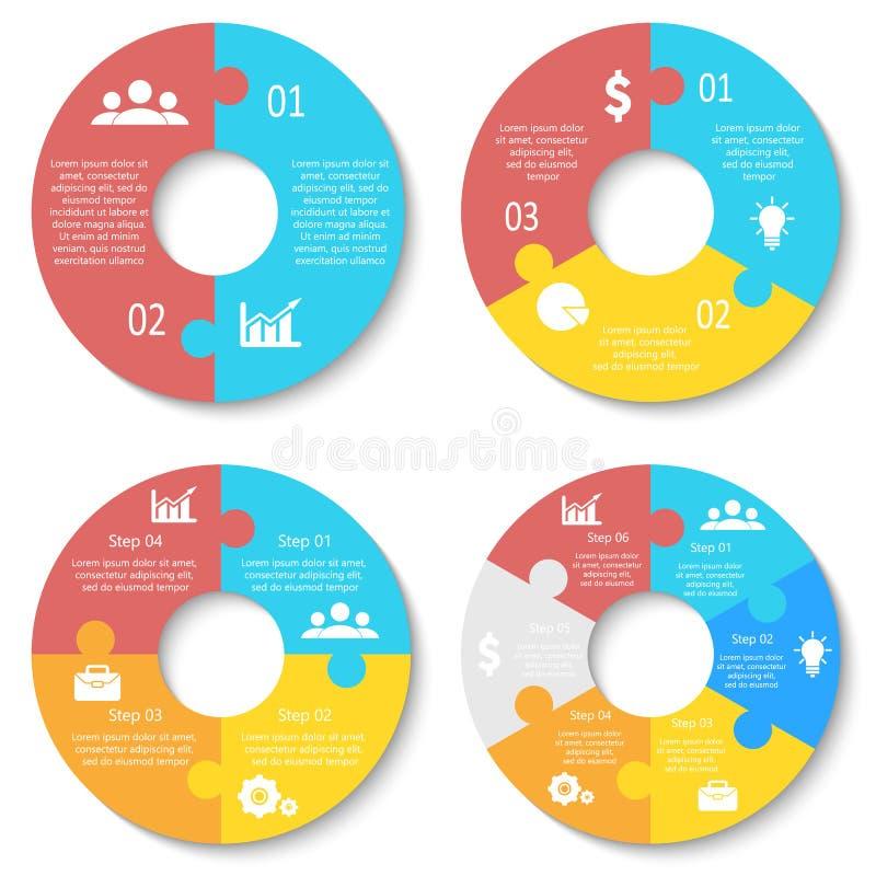 Vektorcirkelpussel för infographic Mall för runt diagram, graf och diagram arkivbilder