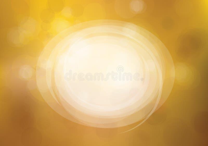 Vektorcirkelram på bokeh, guld- bakgrund stock illustrationer