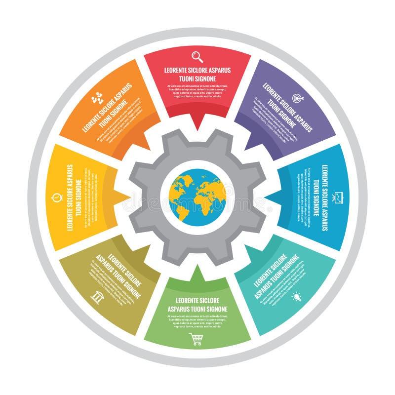 Vektorcirkelsystem - infographic begrepp Infographic mall för affärspresentation, häfte, webbplats och olik design royaltyfri illustrationer